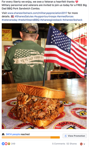 Shane's Big Dad Pork Sandwich salutes military with Flag